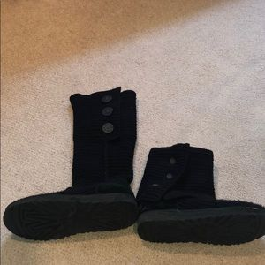 Ugg Black Knit Sweater Cardi Roll Down Boots